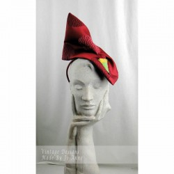 Maroon Satin Headpiece